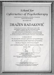 Diploma Međunarodne škole kibernetske psihoterapije