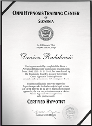 Diploma Omny Hypnosis Training Center