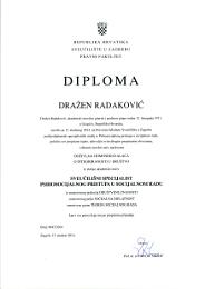 Diploma poslijediplomskog specijalističkog studija psihosocijalnog pristupa u socijalnom radu